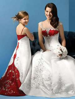 White and Red Bridal Wedding Dress Formal Gown Custom size and color