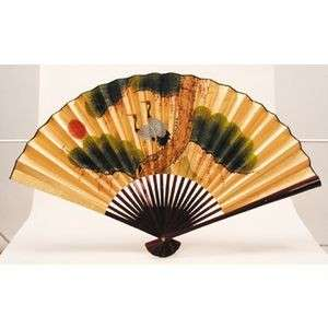 Japanese Folding Fan Gold BIG SENSU Pine & 2 Cranes