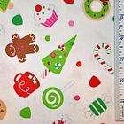 half yard christmas candy riley blake gingerbread cookie white fabric