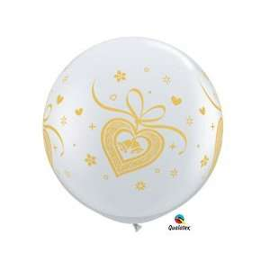 Wedding Bells Gold Clear 3 Latex Balloon Qualatex