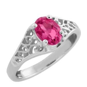 1.00 Ct Oval Pink Mystic Topaz 925 Sterling Silver Ring