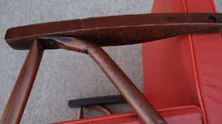 Mid Century Modern Childs Orange Vinyl Lounge Arm Chair Vintage RARE