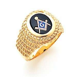 Braided Oval Blue Lodge Ring   14k Gold/14kt yellow gold
