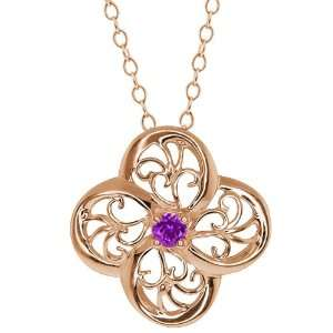 Round Purple Amethyst 14k Rose Gold Pendant Jewelry