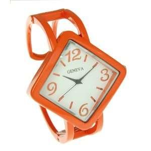 Orange Diamond Shape Large Face Over Wrist Bangle Watch Jewelry