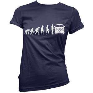 Evolution of Man Womens VW Camper Van T Shirt Clothing