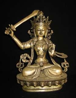Old Tibetan Silver Plated Bronze Manjushri Statue 19c
