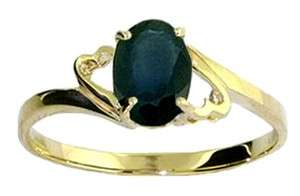 14K SOLID GOLD RING W/ NATURAL OVAL SHAPED SAPPHIRE
