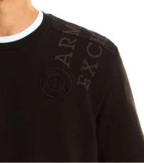 Armani Exchange Woven Pieced Logo Thermal Crew Black NWT
