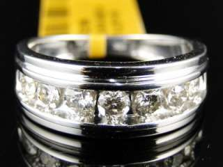 WHITE GOLD ROUND CUT DIAMOND WEDDING BAND CHANNEL RING 1 CT