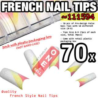 70 pcs Acrylic French Glitter False Nail Tips 30 Styles
