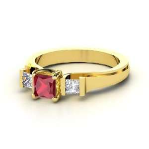 Blair Ring, Princess Ruby 14K Yellow Gold Ring with