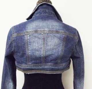 Distressed Dark Blue Stretch Denim Jean Cropped Super Short Jacket sz