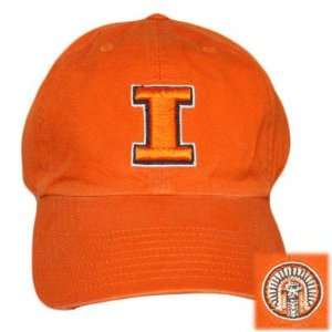 FITTED WASH CAP HAT ILLINOIS FIGHTING ILLINI ORANGE LG