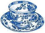 Blue Willow Tea Cup China White Cups Wallies Decals Art Stickers Decal
