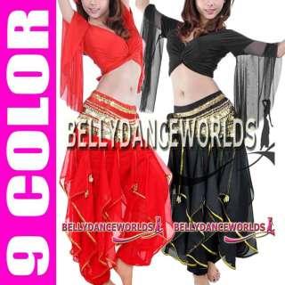 BELLY DANCE COSTUME SET CHOLI WRAP TOP HAREM PANTS 7CLR