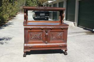 Heavily Carved Victorian Tiger Oak Winged Griffin Sideboard Buffet