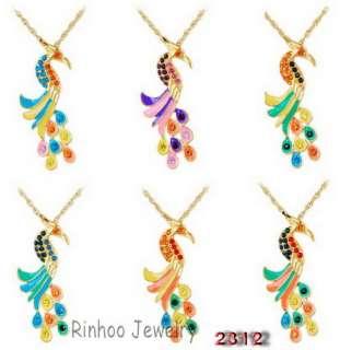 6p Peacock 70MM Rhinestone Crystal Golden Sweater Chain Long Pendant