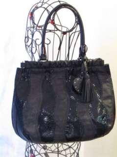 purse handbag SATCHEL pocketbook HOBO BLACK 181358 WAVE PATCHWORK TOTE
