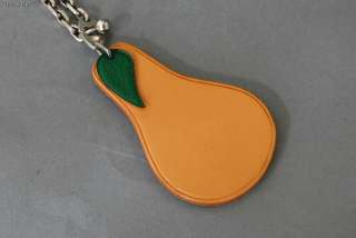 Authentic HERMES Fruit Pear Leather Key Chain Bag Charm