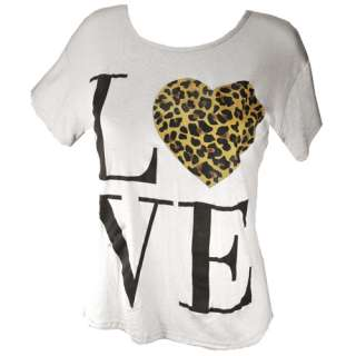 Print Leopard Love Heart Womens Top Tee T Shirt Size 8 14