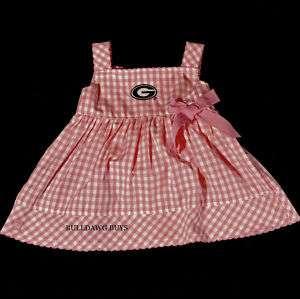 UGA Georgia Bulldogs Pink Gingham Infant Dress/Bloomers