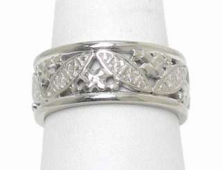 BEAUTIFUL 14K SOLID WHITE GOLD ORNATE BAND RING