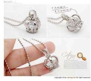 Luxury Crystal Rhinestone Crown Pendant Trendy Necklace Long Chain