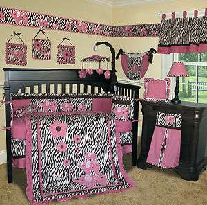 Baby Boutique   Pink Zebra 14 PCS Crib Bedding Set L