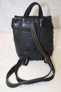 LUXURIOUS SOFT LEATHER BLACK BUCKLE FLAP BACKPACK BAG HANDBAG PURSE