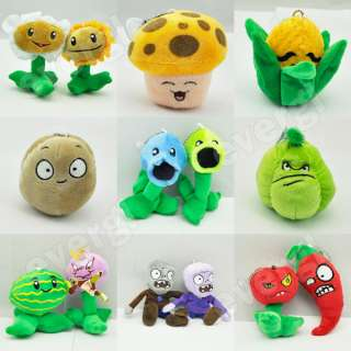 Plants Vs Zombies Stuffed Soft Plush Toy Doll Shooter Nut Flower 14pcs