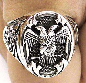 DOUBLE HEADED EAGLE EMPIRE STERLING SILVER RING Sz 10