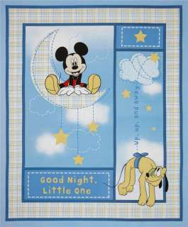Good Night Mickey Mouse Nursery Baby Quilt Top Fabric Panel