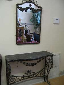 ENTRYWAY HAND MADE IRON MIRROR AND MARBLE TOP TABLE