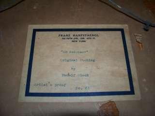 1914 Rudolf Sieck Signed German Artist Proof Etching