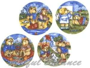 Ceramic Decals Teddy Bear SUMMER DAYS Picnic Fishing