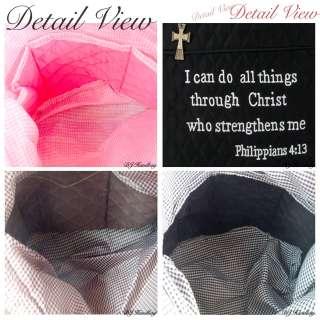 New Solid Bible Verse Cross Tote bag Handbag Purse PB08