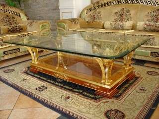 Gold Plated Coffee Table w/ Glass Top & Solid Birch Wood Base