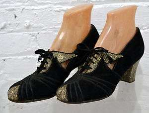 Vtg ART DECO 1920s Black Suede Python Snake Leather Lace Up Flapper