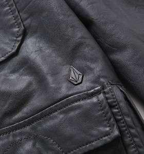Volcom Stone Armalite Mens Gray Faux Leather Hoodie Jacket New NWT