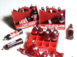 COLA COKE Drink Soda Pop & 3 Tray Plastic Dollhouse Miniature