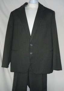 Mens Gray Wool Blend Suit Size 44R
