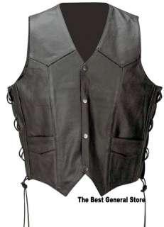 Black Solid Leather Biker Motorcycle Vest w/Eagle/Flag