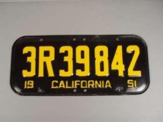 1951 California License Plates Pair