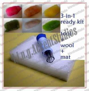 in 1 Felting Tool Foam Pad Mat Wool Roving Embroidery Stitching Needle