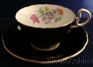 Aynsley Teacup Saucer HPT Spring Floral & Tulips Inside Bold Shiny