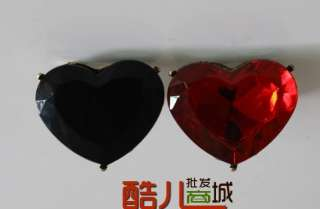 Fashion Love Big Red/Black Heart Rhinestone Cute Ring Rings