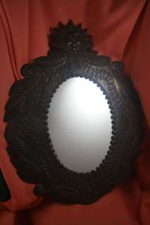 METAL SUN FLORAL Flowers CUT OUT Wall MIRROR Bronze Finish