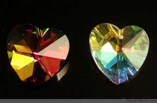 Lots 50Pcs 18mm Heart Crystal Glass Beads Pendants