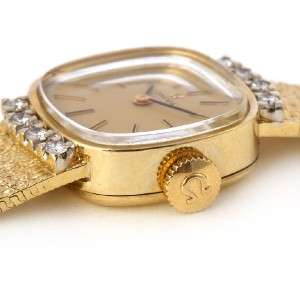 Vintage Ladies Omega 14K Yellow Gold Diamond Watch